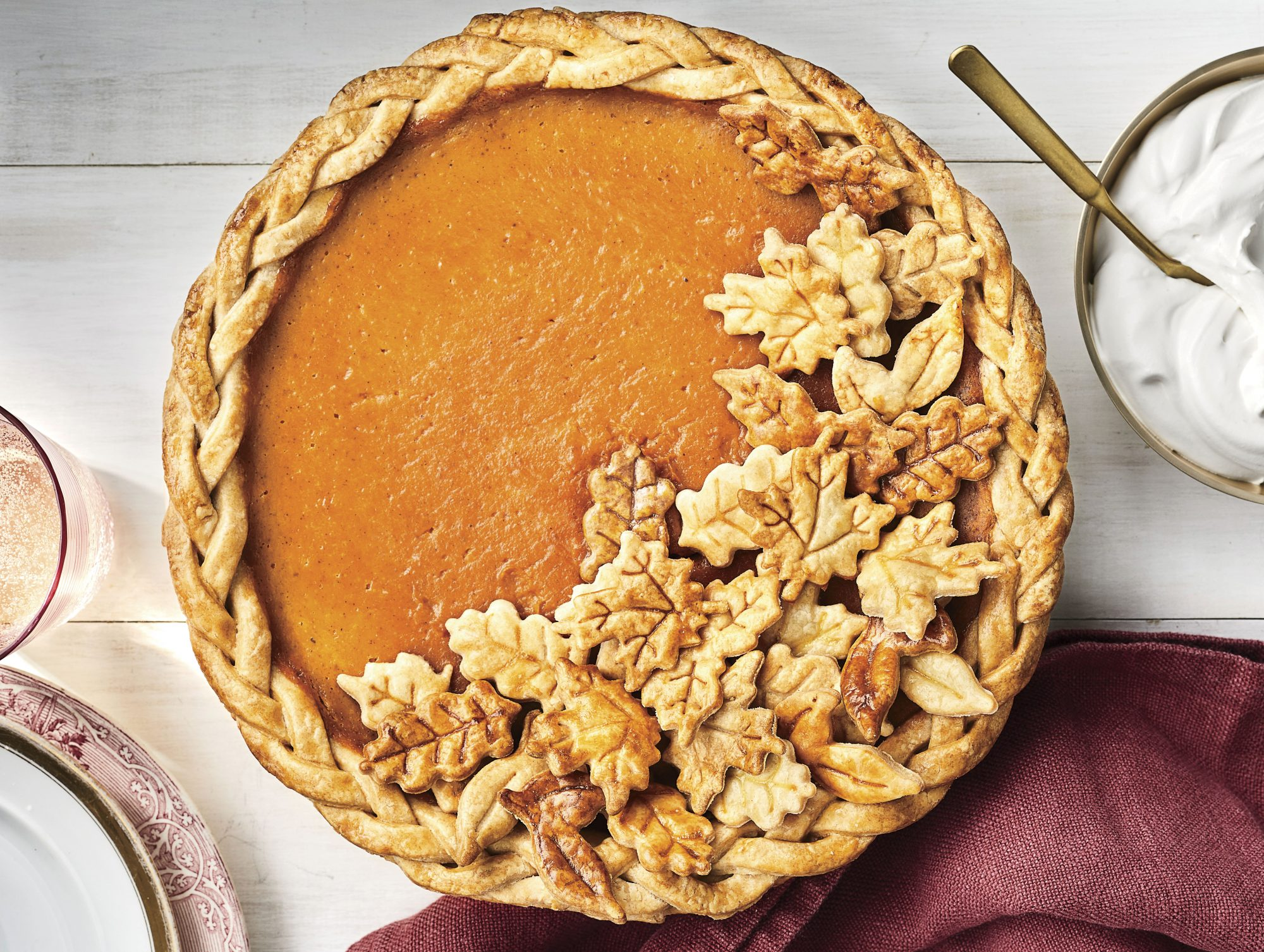 pumpkin pie with leaf crust