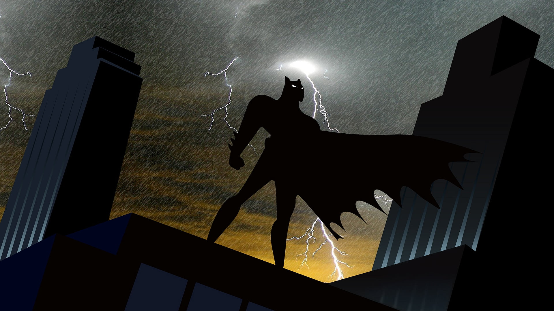 Animated Batman silhouette with lightning