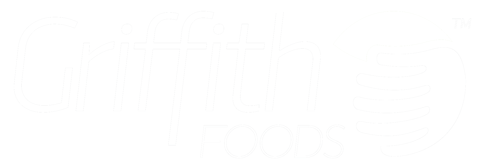 Griffith Foods logo, white