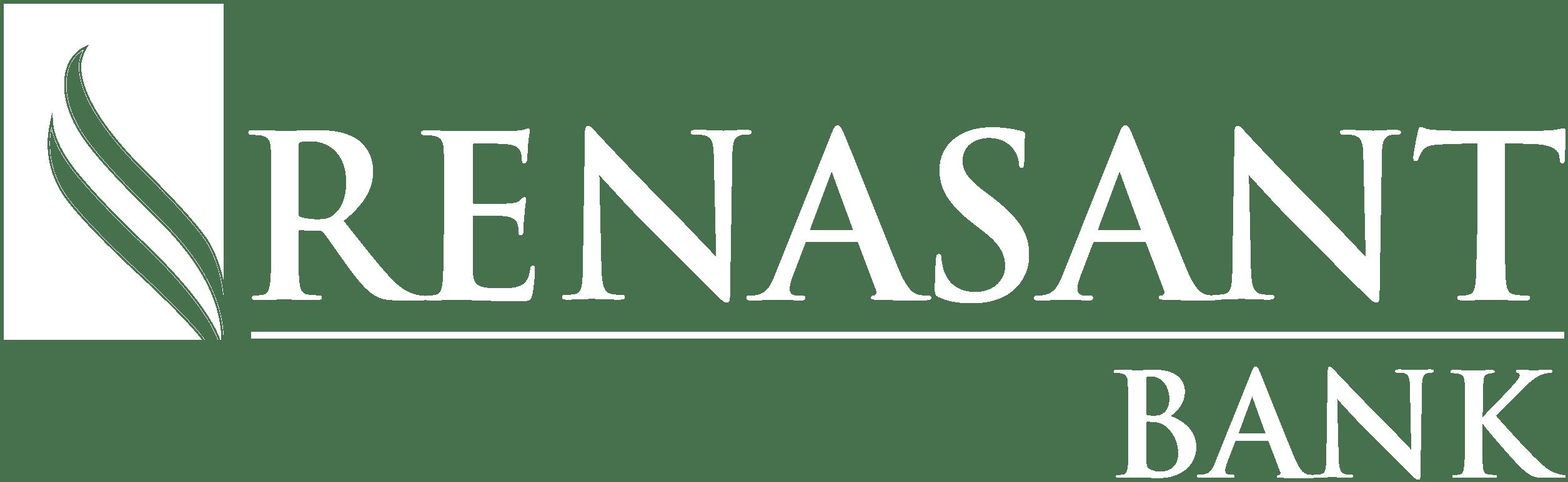 Renasant bank logo, white